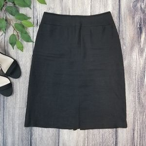 Kenzo Jungle Black Linen Skirt with Front Pockets